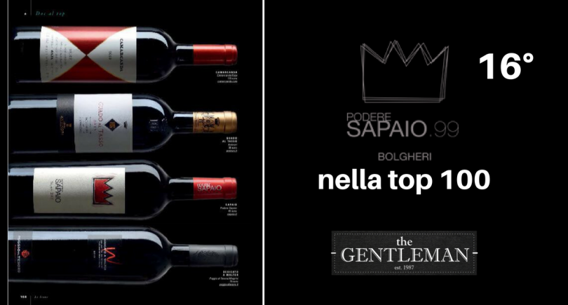 Podere Sapaio featured in Gentleman Magazine's Top 100 Italian red wines.